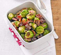 This roasted Brussels sprouts recipe is perfect for a roast dinner with all the trimmings. A tasty twist on these traditional greens, from BBC Good Food. Vitamin C, Bbc Good Food Recipes, Cooking Recipes, Brussels Sprouts Recipe With Bacon, Sprouts And Bacon, Pesto, Yogurt, Chestnut Recipes, Roasted Sprouts