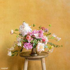Flowers in a vase on a stool | premium image by rawpixel.com / KUTTHALEEYO Hydrangea Flower, Flower Vases, Flower Arrangements, Beautiful Bouquet Of Flowers, Exotic Flowers, Bunch Of Flowers, Yellow Flowers, Rose Vase, Flower Photos