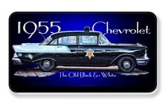 Vintage 1955 Chevrolet Old Black & White Chervrolet Police Car Magnet - PACKAGE OF 4