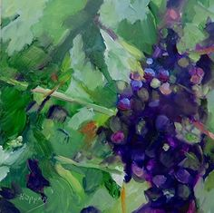 Harvest Time for Red by Carol Hopper Oil ~ 6 x 6