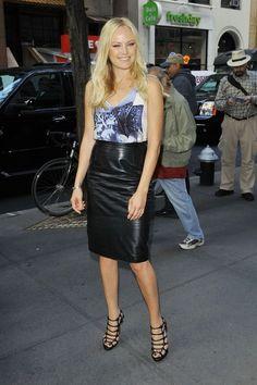 Malin Akerman - Malin Akerman in a Leather Skirt