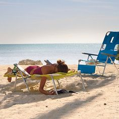 Facedown Beach Lounger: Designed for hours of full body comfort, our Facedown Beach Lounger lets you sit upright, recline, or simply turn over, read, and fall asleep. A swinging headrest and adjustable lumbar pillow fine-tune your comfort. As you lounge face down, a strategically placed cutout for the face relieves stress on your neck and back, making it easy to read and work on crossword puzzles, too.