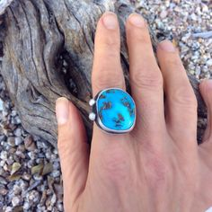 Sterling silver turquoise ring by Sisters of the Sun®, Morenci Turquoise. $145 http://etsy.me/1A0ZBPs