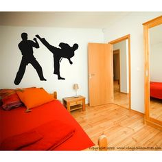Karate Sparring Vinyl Decal, Silhouette Wall Sticker (many sizes) 27 (1)