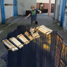 This Amazing Artist Creates Incredibly Realistic Looking Art Work - Straßenkunst - Chalk Art 3d Street Art, Amazing Street Art, Street Art Graffiti, Amazing Art, Graffiti Artists, Awesome, Illusion Kunst, Illusion Art, Street Painting