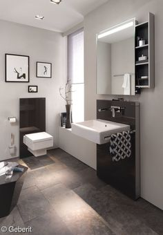The Geberit Monolith sanitary modules for WCs, bidets and washbasins open up unexpected possibilities when it comes to bathroom design. Toilet Room, New Toilet, Emco Bad, Geberit Monolith, False Wall, Bathroom Spa, Bathroom Storage, Contemporary Interior Design, Beautiful Bathrooms