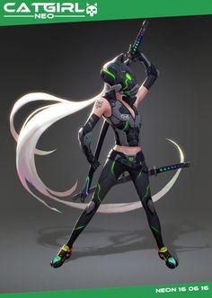 ArtStation - cat girl 2, neon yang