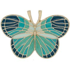 Blue butterfly brooch ($4.75) ❤ liked on Polyvore featuring jewelry, brooches, accessories, brooch, pins, butterflies, women's jewellery, tri color jewelry, enamel butterfly brooch and blue butterfly jewelry
