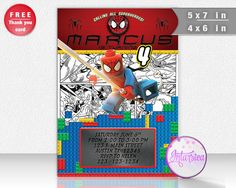 Spiderman Lego Personalized Printable Party Invitation and Thank You Card Digital File