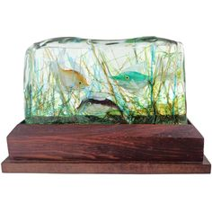 Cenedese Murano Three Fish Italian Art Glass Aquarium Block on Lighted Base | From a unique collection of antique and modern sculptures at https://www.1stdibs.com/furniture/decorative-objects/sculptures/