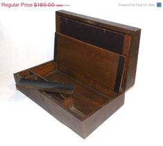 ON SALE Antique Lap Desk Travel Wood by MaryJanesVintageShop, $132.30