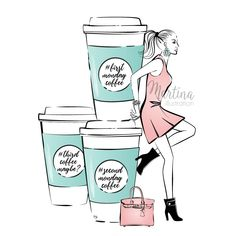 monday coffee girl illustration