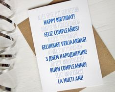 Happy Birthday card many languages blue birthday by AvenirCards
