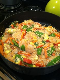 in the kitchen: shrimp fried rice Real Food Recipes, Cooking Recipes, Healthy Recipes, Meals For Two, Main Meals, Shrimp Fried Rice, Good Food, Yummy Food, Rice Dishes