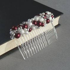 Claret Hair Accessories  Deep Red and Ivory by annakingjewellery, £20.00