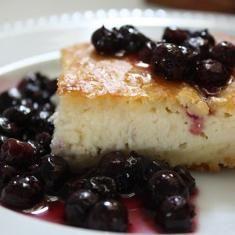 Baked Blintz Cake With Fresh Blueberry Sauce (via www.foodily.com/r/S516blsTO)