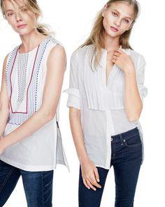 FEB '15 Style Guide: J.Crew women's sleeveless beaded zipper top in white, Reid straight selvedge jean in dark nelson wash, grosgrain ribbon shirt in white stripe, and Toothpick Cone Denim jean.