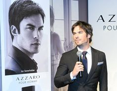 Ian Somerhalder looks smoldering in a black suit at an event for Azzaro Pour Homme in Brazil on May 14