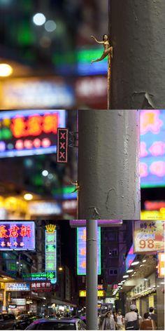 """Hanging on"" - By Slinkachu,   Mong Kok, Kowloon, Hong Kong"