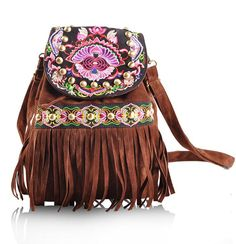 Women's Beautiful BOHO-Style Embroidered Suede Fringe Accent Backpack 2 Colors