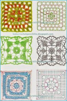10 patrones de grannys tejidos al crochet / cuadros / squares | Todo crochet