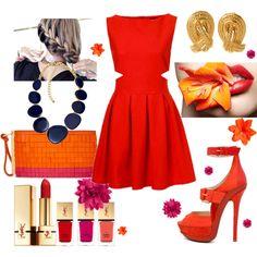 Tangerine, Red & Fushia, created by yosoralsuhaili on Polyvore