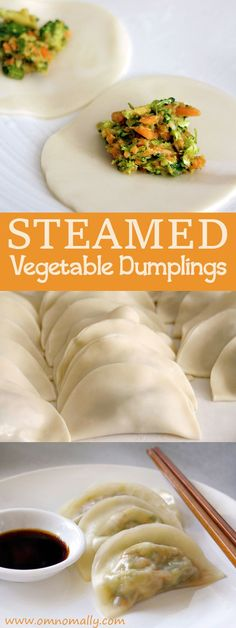 Steamed Vegetable Dumplings with carrot, broccoli and garlic @OmNomAlly #menuplanninh