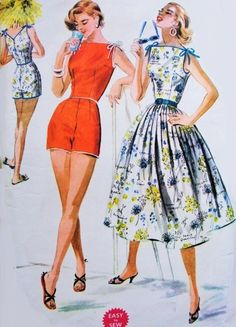 1950s BeachWear Pattern McCalls 3545 Resort Beach Playsuit and Full Skirt Bateau Neck Tied Shoulders Pin Up Style Bust 34 Easy To Sew Vintage Sewing Pattern