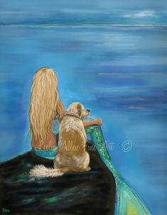 Mermaid Art Mermaid Print Mermaids Labrador by LeslieAllenFineArt
