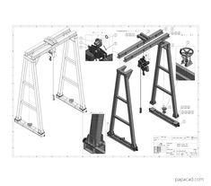 DIY gantry crane plans papacad.com Crane Drawing, Technical Documentation, Crane Design, Autodesk Inventor, Gantry Crane, 3d Cad Models, Steel Structure, Technical Drawing, Autocad