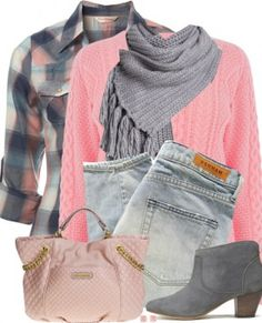 Pink Cable Jumper & Check Shirt Fall Outfit