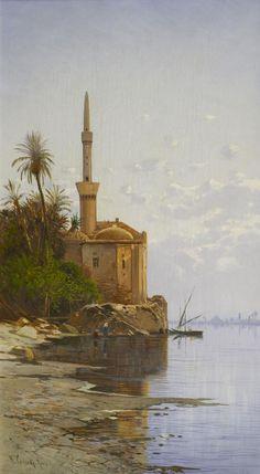Hermann David Salomon Corrodi (1844-1905) Le long du Nil, Egypte Huile sur toile signée en bas à gauche  55 x 32 cm  - Galerie Ary Jan