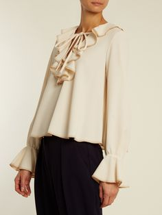 Ruffled stretch-crepe top | See By Chloé | MATCHESFASHION.COM