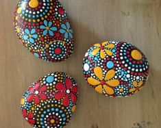 rock art unique gift hand painted stones painted rock mandala design hand painted rocks mandala fields of color collection trio 68 Rock Painting Patterns, Rock Painting Ideas Easy, Dot Art Painting, Rock Painting Designs, Mandala Painting, Pebble Painting, Pebble Art, Stone Painting, Painted River Rocks
