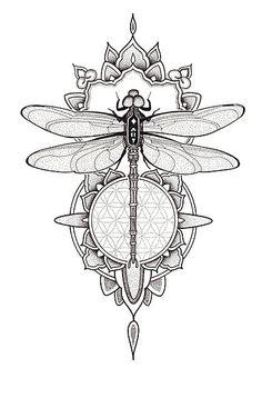 Butterfly Mandala Tattoo, Dotwork Tattoo Mandala, Dragonfly Drawing, Dragonfly Tattoo Design, Butterfly Tattoos For Women, Spine Tattoos For Women, Dragonfly Art, Lotus Tattoo, Henna Tattoo Designs