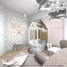 Pokój dla dziewczynki - Atelier Lillet, Projektowanie wnętrz Szczecin Toddler Bed, Ikea, Room, Furniture, Home Decor, Facebook, Design, Instagram, Atelier
