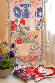 Kathys Cottage- cool table runner idea from vintage table cloths