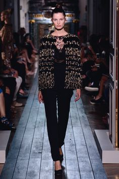 """Pantsuit ensemble """"Sphinx"""" with velvet and crystal embroideries. 650 hours of craftsmanship."""