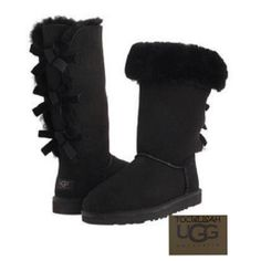 New in Box Women's Ugg Bailey Bow Tall BLACK Boots Size:US:6/EU:37 #3388