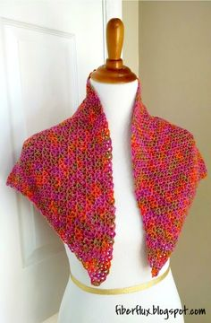 The Zinnia Flower Shawl is a breath of fresh sunshine, crocheted in bright and happy colors.  This triangle...