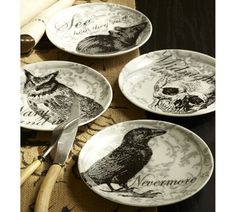 Curiosity Appetizer Plates, Set of 4   Pottery Barn. I got these fabulous plates last year.