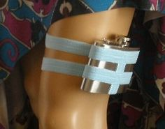Flask Garter - WITH 4oz FLASK - Baby Blue - Fun and unique something blue wedding garter. $40.00, via Etsy.