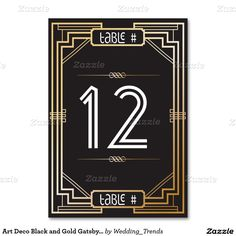 Art Deco Black and Gold Gatsby Table Number Table Cards