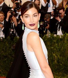 Marc Jacobs lipstick in Blow.  Exclusive: Lily Aldridge's Makeup Artist on Her Met Ball Look via @byrdiebeauty