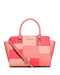MICHAEL Michael Kors Selma Medium Tile Patchwork Satchel Bag, Pink Grapefruit