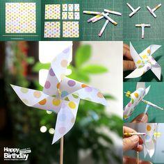 可愛い!よく回る!風車ピックの作り方 (1枚の折り紙で風車を3つ作る方法)