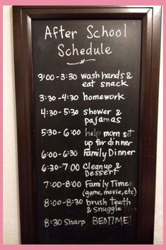After school schedule on a blackboard - works great to keep kids on task