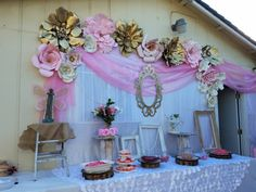 First Birthday party pink gold