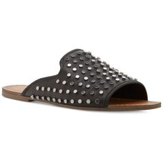 Jessica Simpson Kloe Nailhead Flat Slide Sandals ($40) ❤ liked on Polyvore featuring shoes, sandals, black, jessica simpson footwear, kohl shoes, flat sandals, studded flat sandals and flat slide sandals