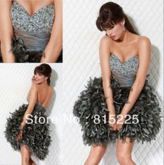 New Arrival Sexy Cocktail Dresses Homecoming Dress Sweetheart Satin Feather Dress Beaded Rhinestone Corset  Mini Short Length on AliExpress.com. 10% off $117.00